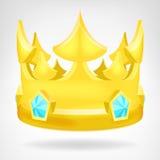 Goldene Krone mit dem Diamantgegenstand lokalisiert Stockbild