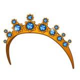 Goldene Krone mit Saphiren, der Hauptzusatz der Frauen Stockfotos