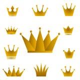 Goldene Kronen - Satz Goldkronensymbole mit goldenem gra Stockbilder