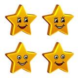 goldene lächelnde Sterne 3d Stockfoto