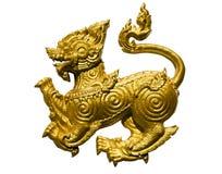 Goldene Löwestatue Lizenzfreies Stockbild