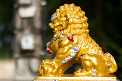 Goldene Löwestatuen. Stockfotos