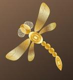 Goldene Libelle auf dunklem Hintergrund lizenzfreie abbildung