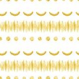 Goldene Linien, Kreise und Biegungen des nahtlosen Musters Lizenzfreies Stockfoto