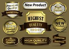 Goldene Luxusaufkleber Stockfotos