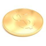 goldene Münze 3d auf weißem Hintergrund Stockbilder