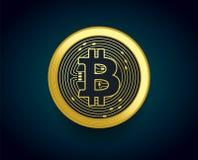 Goldene Münze der Schlüsselwährung von Bitcoin - vector Illustrationskonzept des Währungssymbols Lizenzfreie Stockfotos