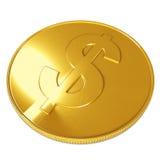 Goldene Münze getrennt auf weißem Hintergrund Lizenzfreies Stockbild
