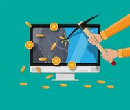 Goldene Münze mit Computer-Chip Lizenzfreie Stockfotos