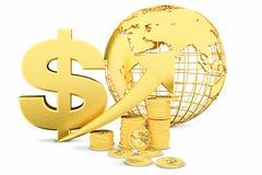 Goldene Münzen als Stangen, die auf das Diagramm steigen Lizenzfreies Stockbild