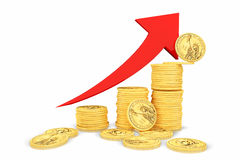 Goldene Münzen als Stangen, die auf das Diagramm steigen Lizenzfreie Stockfotos