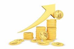 Goldene Münzen als Stangen, die auf das Diagramm steigen Lizenzfreie Stockbilder