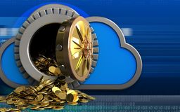 goldene Münzen 3d über Cyber Lizenzfreie Stockfotos