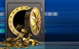 goldene Münzen 3d über Cyber Stockbilder