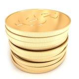 goldene Münzen 3d auf dem weißen Hintergrund Lizenzfreie Stockfotos