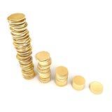 goldene Münzen 3d auf einem weißen Hintergrund Stockfotografie