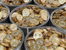 Goldene Münzen mit Dollarsymbol Stockbilder