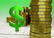 Goldene Münzen und grünes Dollarsymbol Stockbild