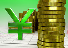 Goldene Münzen und grünes Yensymbol Lizenzfreies Stockbild