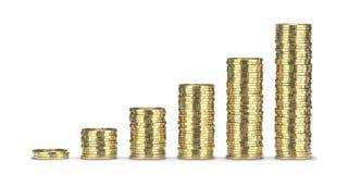 Goldene Münzenstapel 3D übertragen, lokalisiert auf weißem Hintergrund Lizenzfreie Stockbilder