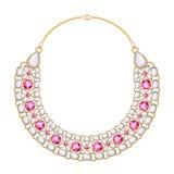 Goldene metallische Halskette vieler Ketten mit Perlen und Rubinen Stockbild
