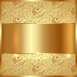Goldene Metallplatte des Vektors mit ethnischem dekorativem Hintergrund vektor abbildung