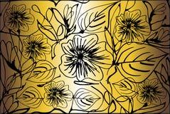 Goldene mit Blumentapete Stockbild