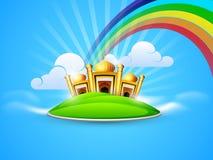 Goldene Moschee und Masjid im Himmel auf Regenbogen Stockfoto