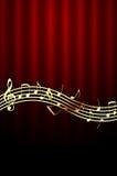 Goldene Musik-Anmerkungen über roten Hintergrund Stockfotografie