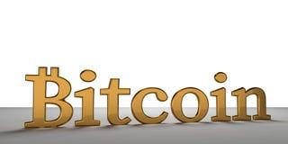 Goldene mutige Wiedergabe Buchstaben 3d Bitcoin Stockfotos