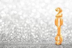 2019 goldene neue Jahre 3d-Wiedergabe am Zusammenfassungsfunkeln hell