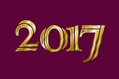 Goldene neues Jahr-Gruß-Karte 2017 Magisches Schein Vektor-Goldfunkelnde strukturierte Kunst Lizenzfreie Stockfotografie