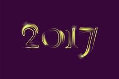 Goldene neues Jahr-Gruß-Karte 2017 Magisches Schein Vektor-Goldfunkelnde strukturierte Kunst Stockbilder