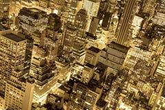 Goldene New- York Citylichter Stockfoto