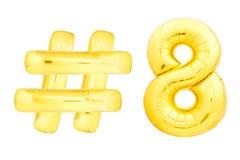 Goldene Nr. acht mit hashtag Symbol Stockbilder