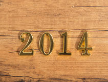 Goldene Nr. 2014 auf Holz Lizenzfreie Stockfotos