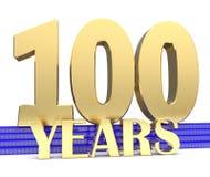 Goldene Nr. hundert und die Aufschriftjahre auf der blauen Treppe mit endlosem Knoten der goldenen Symbole Abbildung 3D Lizenzfreie Stockbilder