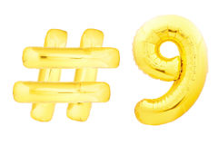 Goldene Nr. neun mit hashtag Symbol Lizenzfreies Stockfoto