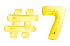 Goldene Nr. sieben mit hashtag Symbol Lizenzfreies Stockfoto