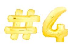 Goldene Nr. vier mit hashtag Symbol Stockbild