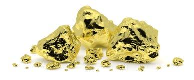 Goldene Nuggets auf weißem Hintergrund lizenzfreie abbildung