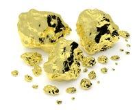 Goldene Nuggets lokalisiert auf Weiß lizenzfreie abbildung
