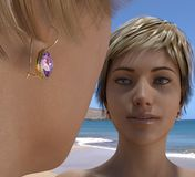 Goldene Ohrringe mit einem Stein Lizenzfreies Stockbild