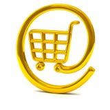 Goldene Onlineeinkaufskorbikone 3d Stockbild