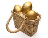 Goldene Ostereier Stockfotografie