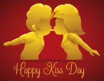 Goldene Paare, die für einen eleganten Kuss-Tag, Vektor-Illustration küssen Lizenzfreie Stockfotos