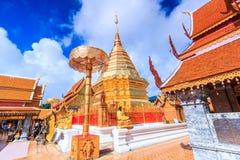 Goldene Pagode bei Wat Phra That Doi Suthep, Thailand stockbild