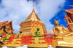 Goldene Pagode bei Wat Phra That Doi Suthep, Thailand stockfotos