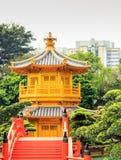 Goldene Pagode lian Gartens Nans am Chi Lin Nunnery I stockfotos
