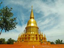 Goldene Pagode, Mahasarakham in Thailand Lizenzfreies Stockfoto